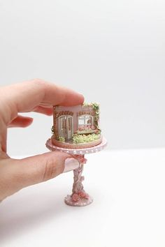 Unusual diorama (1/144 scales) + table (1/12). Totally handmade!! The only instance! Perfectly complement the interior of the miniature! Made in the style of Romantic rose