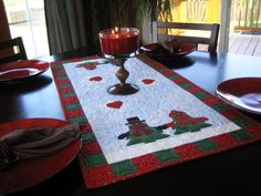 Designed by  Kay Gentry of Noble Needle Quilting & Sewing The Evergreen Love Table Runner features two couples of applique  Compatible with this fabric cutter:Studio*