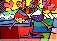 romero britto - Buscar con Google Retro Kunst, Retro Art, Painting For Kids, Art For Kids, Painted Wooden Boxes, Abstract Face Art, Graffiti Painting, Graffiti Art, Arte Country