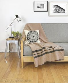 1960 vintage wool blanket / Warm striped throw blanket for