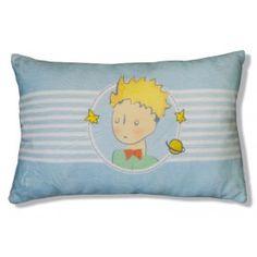 Coussin LE Petit Prince Légende ! D'Après les dessins originaux d'Antoine de Saint -Exupery !  Dim : 28 x 42  Couleur : Bleu ciel avec la tête du petit prince au milieu !