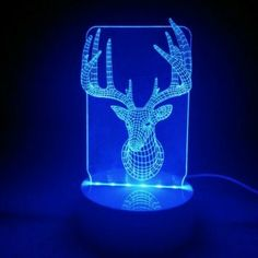 3D Christams LED Table Lamp Beautiful Deer Antlers Night Light Xmas Festival Acrylic Remote Control Desk Lamps For Kids - RGB RGB