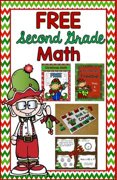 Christmas math for 2nd grade---FREE Math--Christmas Task Cards, Roll and Cover…