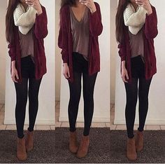 Maroon cardigan, loose shirt, black leggings, brown ankle boots, scarf... fall outfit, i love this
