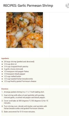 Garlic Parmesan Shrimp Fish Recipes, Meat Recipes, Seafood Recipes, Cooking Recipes, Healthy Recipes, Shrimp Dishes, Fish Dishes, I Love Food, Good Food