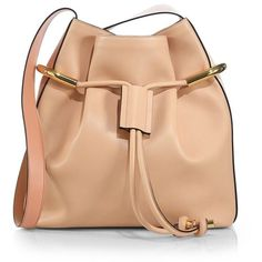 Chloe Emma Small Two-Tone Drawstring Hobo Bag (14 210 ZAR) ❤ liked on Polyvore featuring bags, handbags, shoulder bags, purses, apparel & accessories, blush nude, leather hobo purse, drawstring pouch, shoulder strap bag and leather shoulder bag