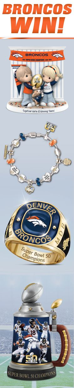 Congratulations to the Denver Broncos, Super Bowl 50 Champions. Celebrate their epic victory with these officially-licensed collectibles, jewelry and memorabilia.