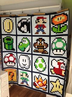 Mario Brothers Quilt Top Done! by MoonlitStitches, via Flickr