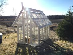 Greenhouse project is taking steps ahead after winter. Old windows, some paint and lots of DIY