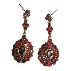 Bohemian Garnet Earrings, Sterling & Gold Wash, Vintage Sparkle