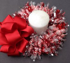 Candy Wreath Centerpiece Peppermint Gift by CandyWreathsbyCarla