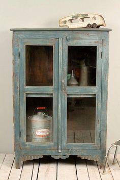 Vintage Distressed Dark Blue Green Paint by hammerandhandimports...