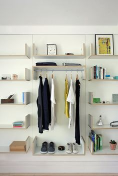 It's hard to find a shelving unit that works for more than one situation, but Ben Couture, of Jardine Couture, designed a modular shelving system that's pretty close. The CV Shelving System, named … Modular Shelving, Shelving Systems, Modern Shelving, Interior And Exterior, Interior Design, Small Room Bedroom, Bed Room, Sofa Furniture, Nice Furniture