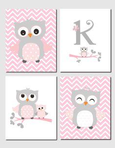 Owl Nursery Art, Pink Gray Owls, Initial, Monogram, Baby Girl, Kids Art, Chevron, Girls Room, Owl Nursery Decor, Set of 4, Printable by vtdesigns on Etsy