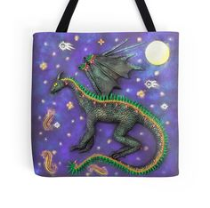$27.50 #dragon #dragonbag #dragontote #dragontotebag The Dream Dragon The Dream Dragon comes out when the stars are bright. It flies across the night sky, breathing fire over us while we sleep, endowing us with the passion, energy and determination to follow our dreams.