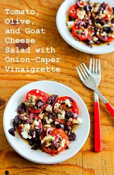 Sliced Tomato, Olive and Goat Cheese Salad with Onion-Caper Vinaigrette; tomatoes, olives, goat cheese! What else do I need to say? [from KalynsKitchen.com] #LowCarb #GlutenFree #Tomatoes