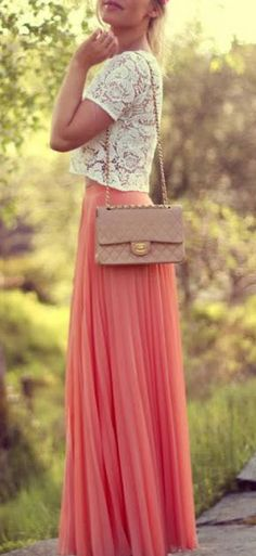 lace cut-off blouse paired with coral maxi skirt.