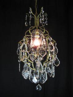 Lampadario in ottone e cristallo Anni Cinquanta