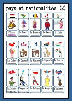 more countries and nationalities in French French Language Lessons, French Language Learning, French Lessons, English Lessons, French Teaching Resources, Teaching French, Learn To Speak French, French Worksheets, French Education