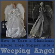 DIY Weeping Angel Tree Topper haha I love the tardis is in the background of the Christmas angel