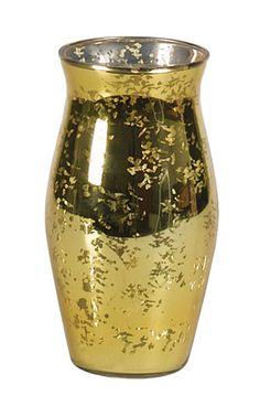 Round glass vase has a metallic antique gold spattered finish. Round Glass Vase, Colored Glass Vases, Gold Glass, Antique Gold, Antiques, Metal, Home Decor, Antiquities, Antique