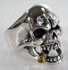 Mafia Skull Ring - with Gold Cigar birthday gift for the hubby