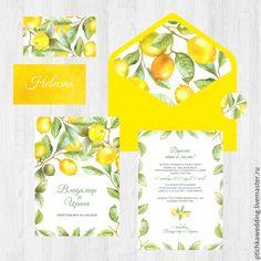 Купить Акварельные свадебные желтые приглашения Солнечные лимоны - свадьба желтая, приглашение, пригласительный