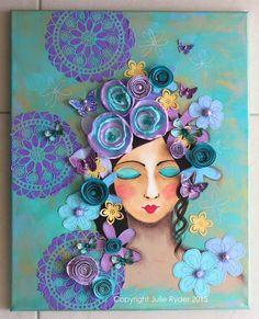Mixed media Girl Face Art Purple Mauve Blue Aqua with Dimensional embellishme… – painting Mixed Media Painting, Mixed Media Artists, Mixed Media Canvas, Mixed Media Collage, Collage Kunst, Collage Art, Art Violet, Painting & Drawing, Mixed Media Faces