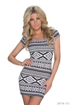 Wit azteken jurkje met zwarte accenten