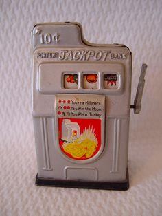 Vintage Slot Machine Bank, 10 Cent Slot Machine, Tin Bank