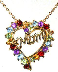 #ebay #MothersDay  50% OFF Mom Topaz Amethyst Citrine Peridot Garnet Heart Pendant http://www.ebay.com/itm/271474176714?ssPageName=STRK:MESELX:IT&_trksid=p3984.m1558.l2649
