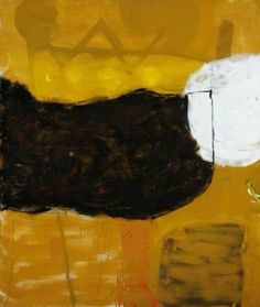 Roger Hilton - Dark Form on Yellow 1959 Abstract Words, Abstract Images, Abstract Art, Abstract Paintings, Pablo Picasso, Yellow Art, Art Archive, Art Uk, Your Paintings