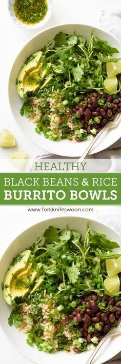 Healthy Black Bean and Rice Burrito Bowls with Cilantro-Lime Vinaigrette | via forkknifeswoon.com