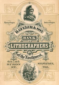 Ad for H. Gugler & Son, Bank Lithographers, Milwaukee, 1879, from The Bankers' Directory of the United States and Canada. Zoom in and you'll see that lion's head door knocker, sort of a weird thing in print.