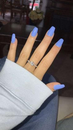 12 Ways to Wear Coffin Shaped Nails — Design Ideas for Ballerina Nails Coffin Nail Colors. 12 Ways to Wear Coffin Shaped Nails — Design Ideas for Ballerina Nails Acrylic Nails Coffin Short, Blue Acrylic Nails, Coffin Shape Nails, Summer Acrylic Nails, Spring Nails, Pastel Blue Nails, Acrylic Nail Designs For Summer, Blue Gel Nails, Colourful Nails