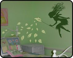fairy room themes | FAIRY Wall Decal w/ Leaf Branch Wand - Fun girls nursery decor idea