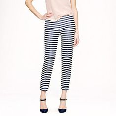 Get inspired by one of our favorite working girls, Jenna Lyons, with these J.Crew raffia striped pant. #15things #trending #fashion #style #trousers #work #apparel #pants #JCrew #stripes