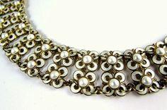 50s David Andersen enamel sterling silver 925s necklace | modernist Norway Willy Winnaess | quatrefoil flower | vintage mid century | 1950s