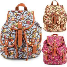 Women Cute Cartoon Owls Pattern Canvas Backpack Shoulder Bag Students Schoolbag Book Bag Canvas Backpack, Backpack Purse, Purse Wallet, Owl Cartoon, Cute Cartoon, Owl Patterns, Cute Backpacks, Cute Owl, Cute Bags