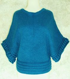 MOTH ANTHROPOLOGIE  Teal Turquoise Sweater S / P Mohair Blend Dolman Winter Fall #Moth #Poncho