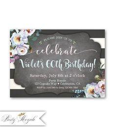 Or confettis à rayures noir 18th personnalisé fête d/'anniversaire invitations