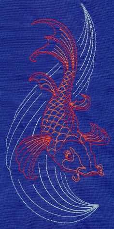 "Sashiko Style Koi	Product ID:	E5474 Size:	4.36""(w) x 9.4""(h) (110.6 x 238.7 mm)	Color Changes:	4 Stitches:	7159	Colors Used:	4"