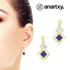 Pendientes geométricos con  piedra natural  #anartxy #woman #joyas #Jóias #Jewels #Bijoux #style #stone #earrings