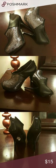 GLAM booties! By deb These are so gorgeous the photos do not do it justice. Black and silver sparkle. Box does not have lid but they were never worn! Smoke and pet free home. Deb Shoes Ankle Boots & Booties