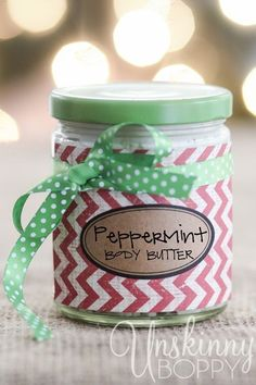 Homemade Peppermint Body Butter Recipe using essential oils along with several really cute packaging ideas!