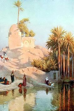 Al-Fayoum Oasis on the River Nile in Egypt 1906 By Robert Kelly (English , 1861 – 1934) Watercolor , 13 x 18 cm: