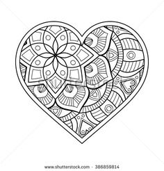 Heart with floral Mandala. Vintage decorative elements. Oriental pattern, vector illustration. Islam, Arabic, Indian, turkish, pakistan, chinese, ottoman motifs