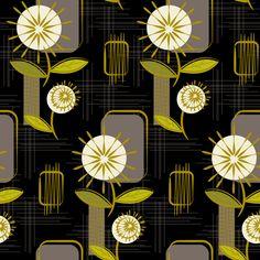 Mid Century Modern Dandelions ~ (Charcoal) fabric by retrorudolphs on Spoonflower - custom fabric