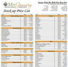 Stock-Up Price List. At the beginning of March, I posted my top produce prices and since then I have received dozens of emails, requesting I post a stock-u Ways To Save Money, Money Tips, Money Saving Tips, How To Make Money, Saving Ideas, Couponing 101, Extreme Couponing, Basic Grocery List, Price List