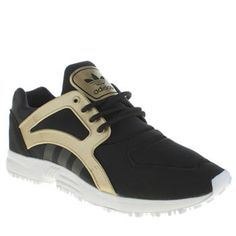 womens adidas black & gold racer lite trainers